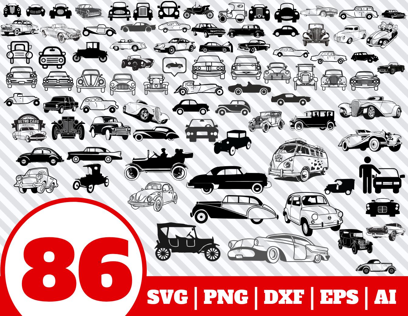 86 Vintage Car Svg Bundle Vintage Car Clipart Vintage Car