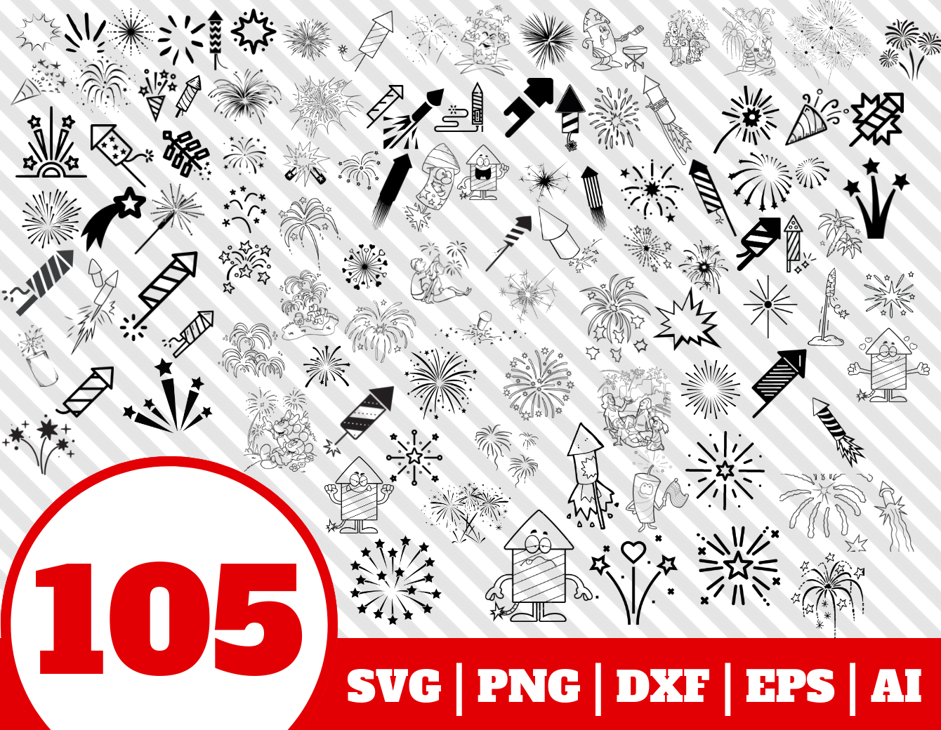 105 Fireworks Svg Bundle Firework Clipart Firework Vector By