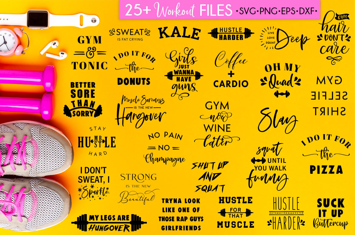 Fitness Svg Bundle Workout Quotes Gym Quotes By Freeling Design