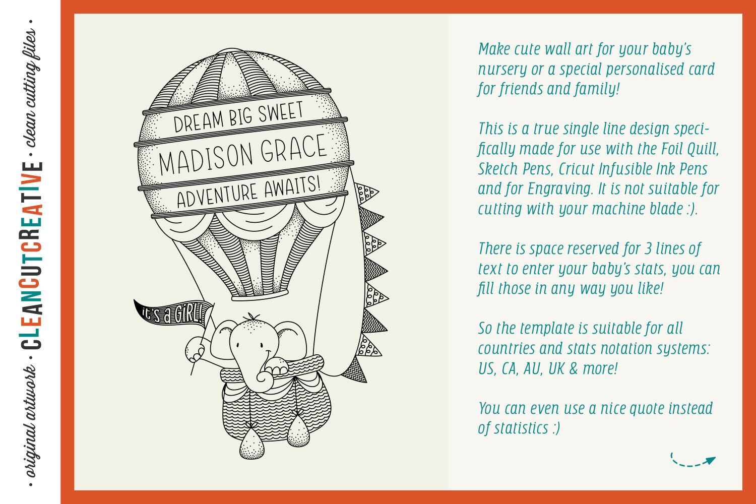 Foil Quill Hot Air Balloon Birth Stats Baby Announcement Svg By