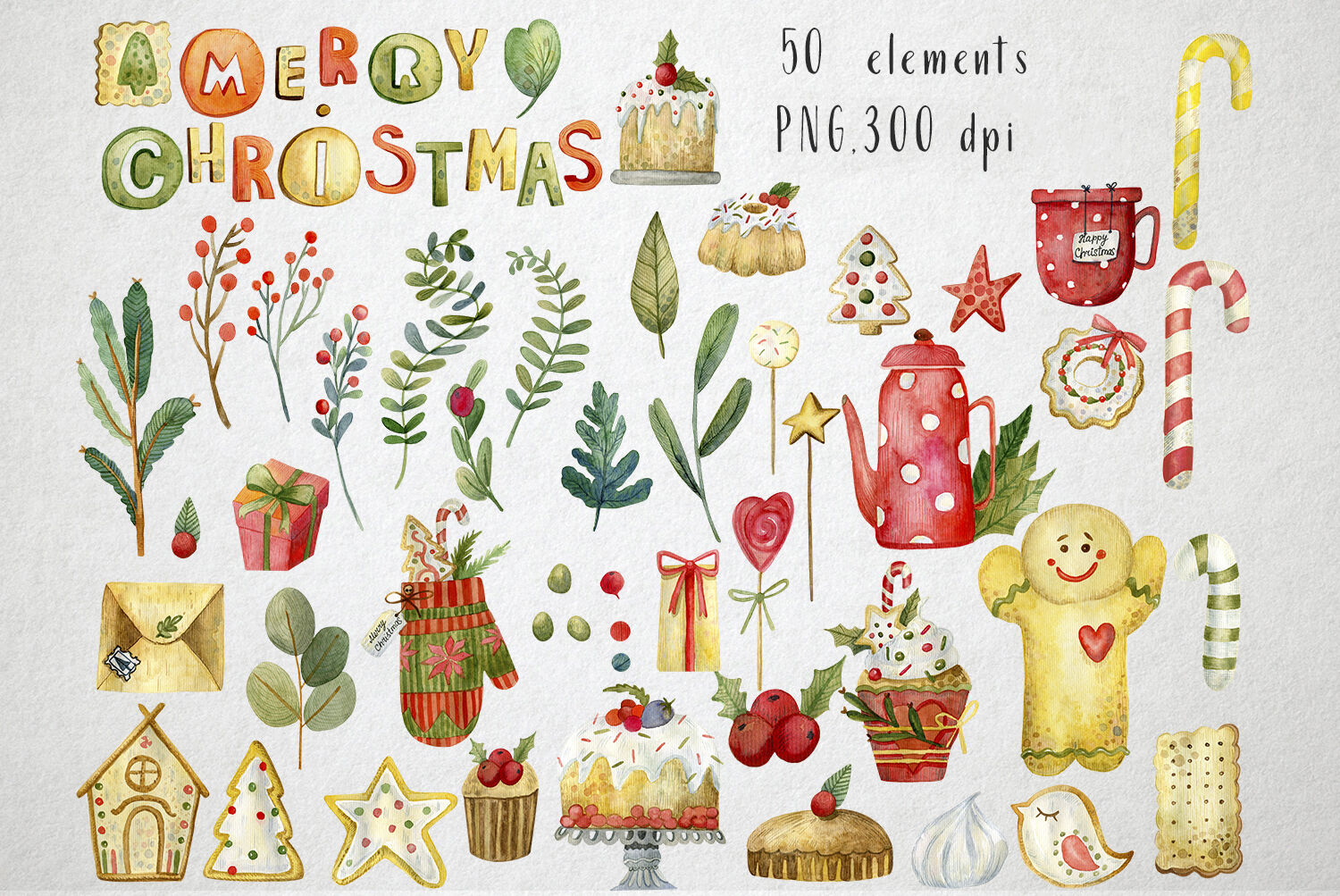 Sweet Christmas Watercolor Set By By Anna Sokol Thehungryjpeg Com