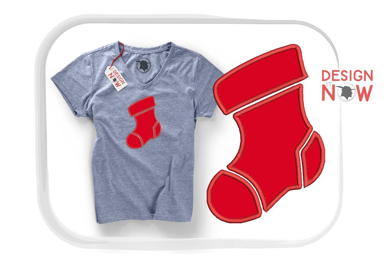 Santa Sock Applique Design Christmas Embroidery Design Holiday