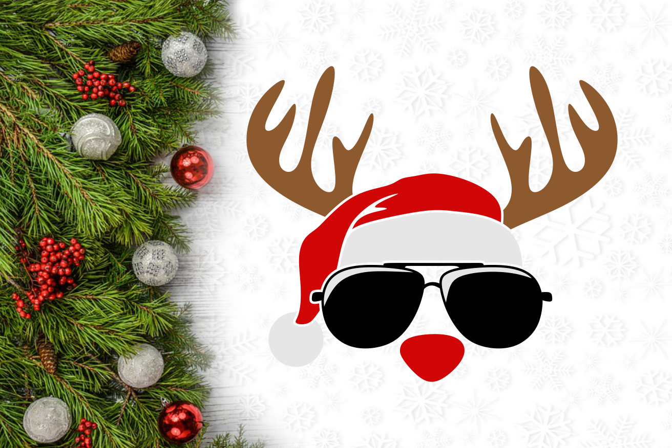 Hipster Reindeer Christmas Svg Cuttable Design By Agsdesign