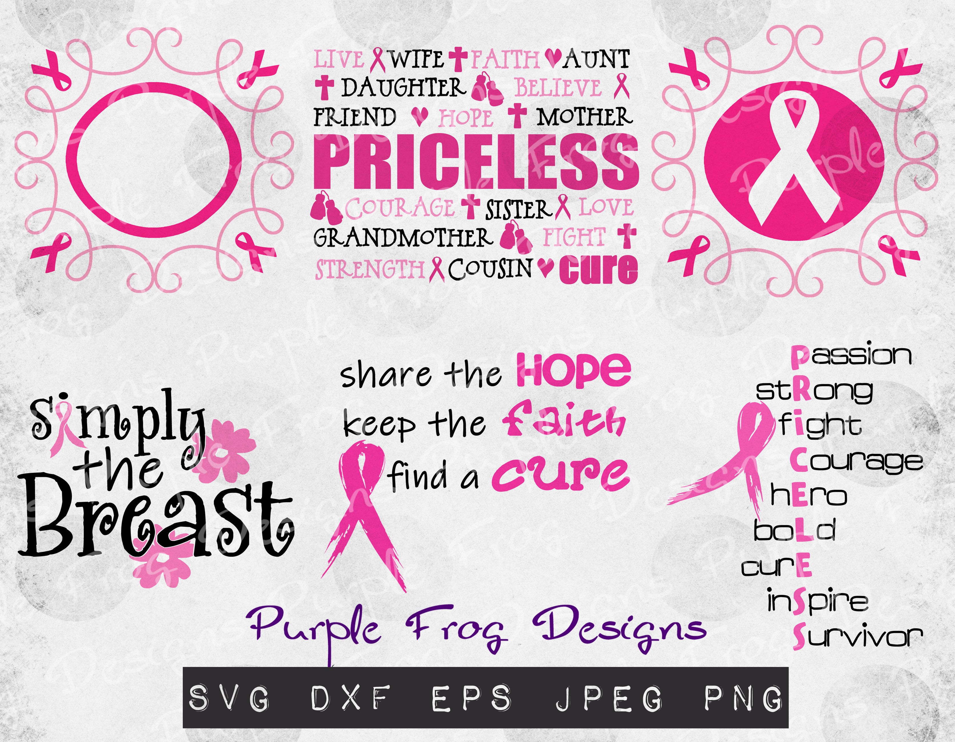 Breast Cancer Cut Files Svg Bundle Monogram By Purple Frog Designs