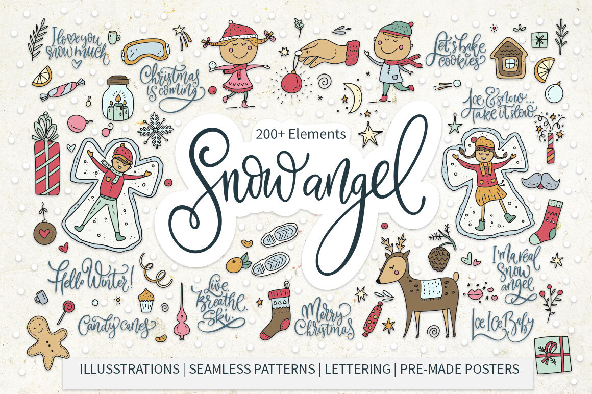 Snow Angel Big Christmas Pack Sale By Red Ink Thehungryjpeg Com