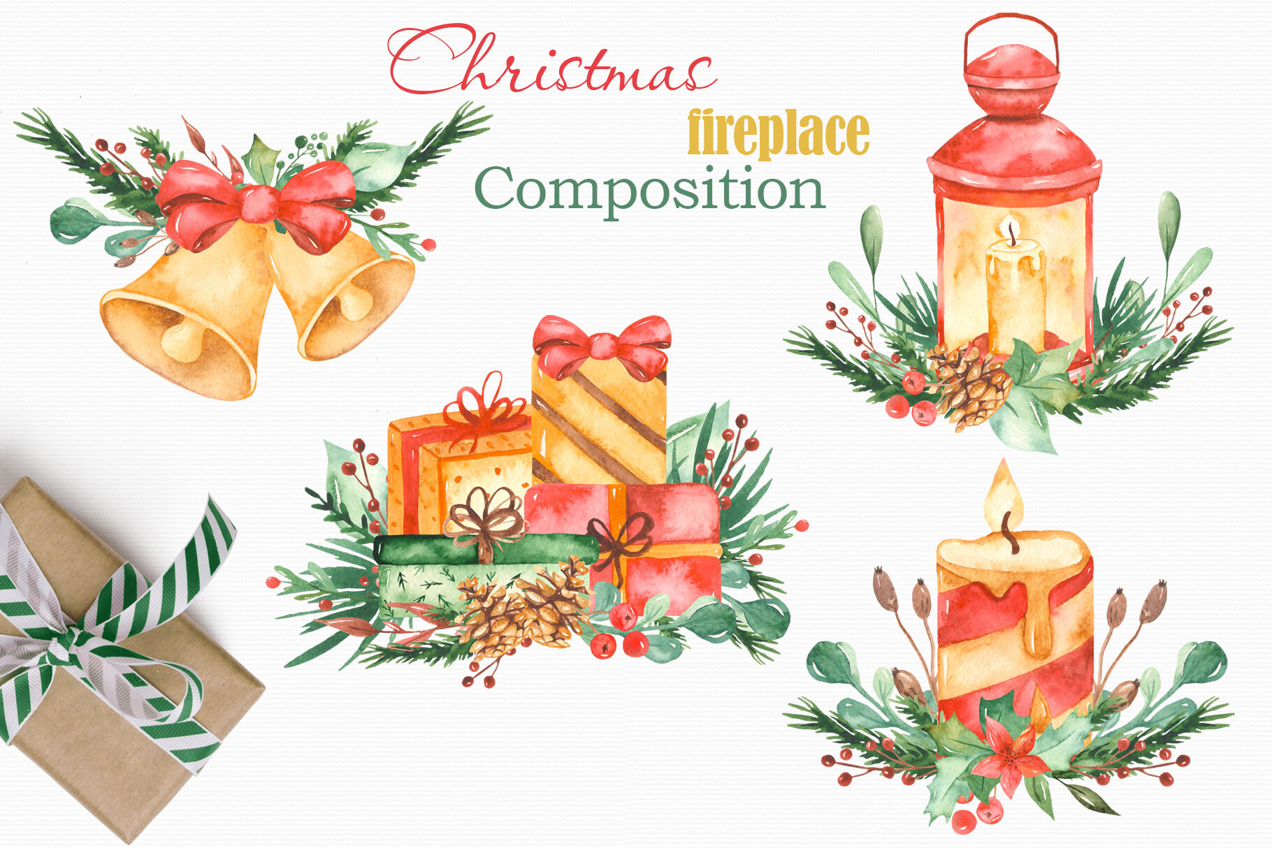 Christmas Fireplace Watercolor Collection Clipart By Marina