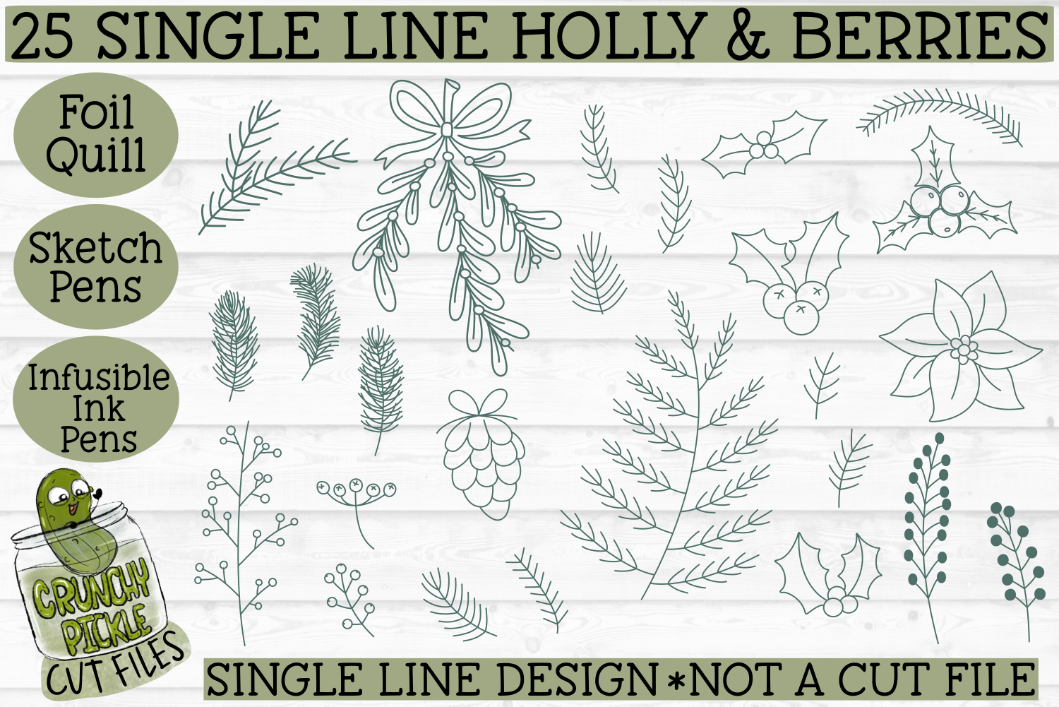 Foil Quill Christmas 27 Holly Berries Set Single Line By
