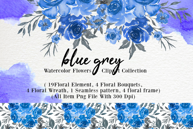 Blue Grey Watercolor Flower Clip Art By Orchidart Thehungryjpeg Com
