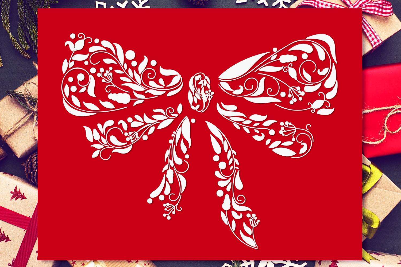 Ornamental Christmas Bow Svg Cut File By Craft N Cuts