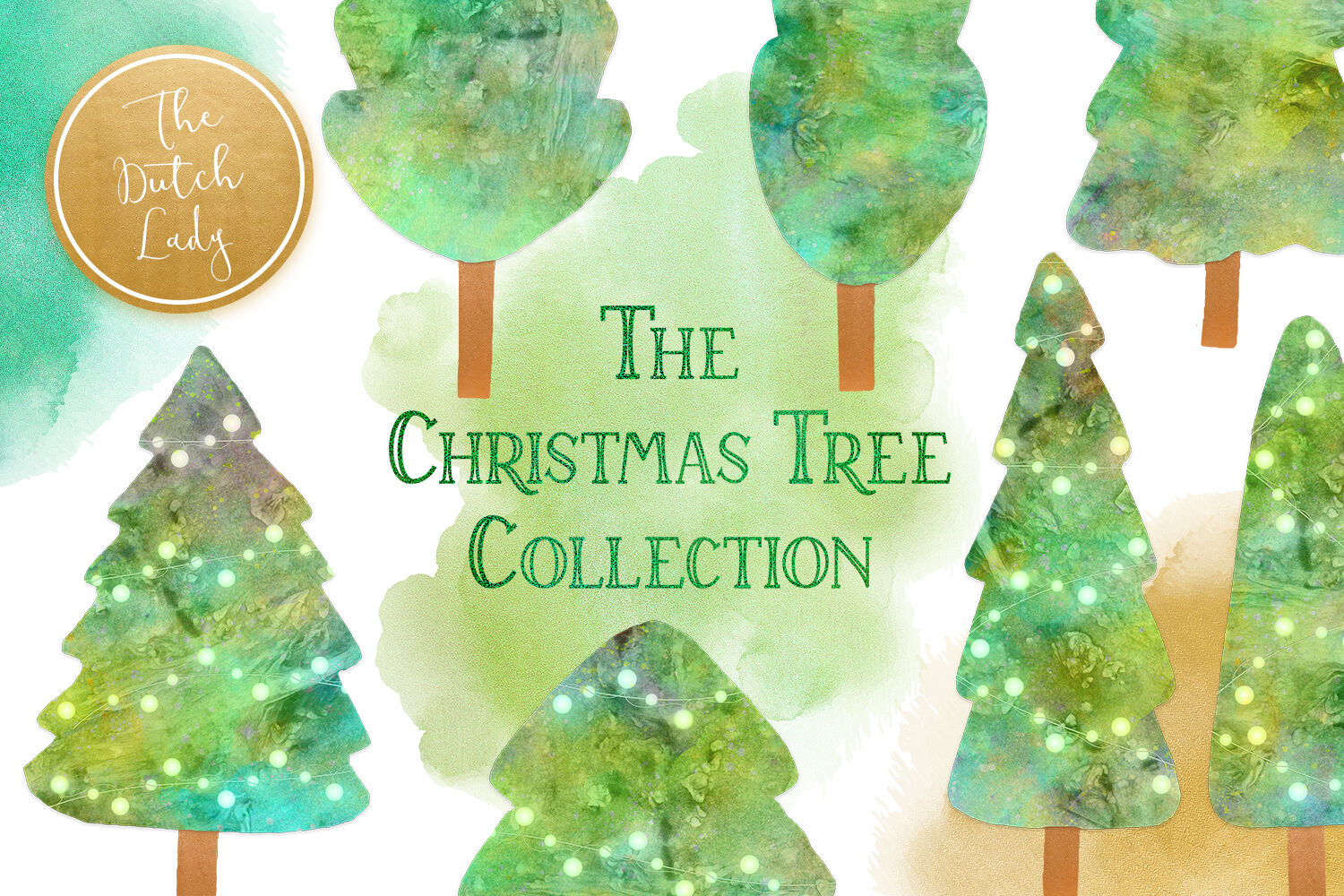 Christmas Tree Collection Clipart Set By The Dutch Lady Designs