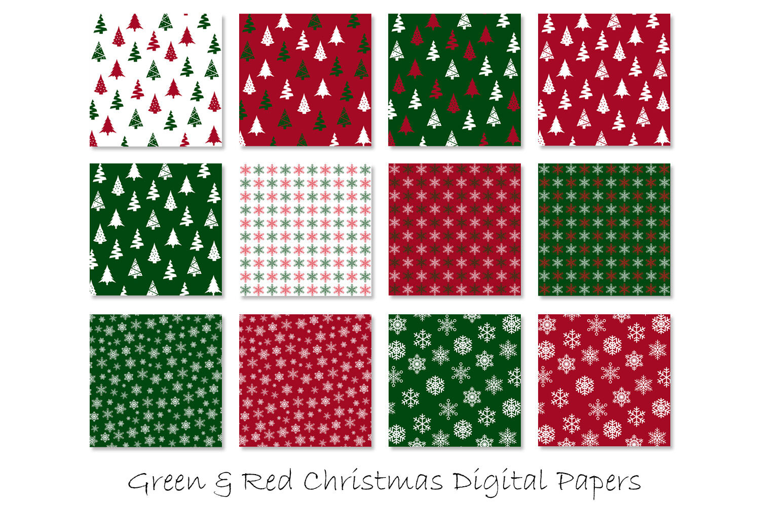 Christmas Digital Paper Red And Green Christmas Background By