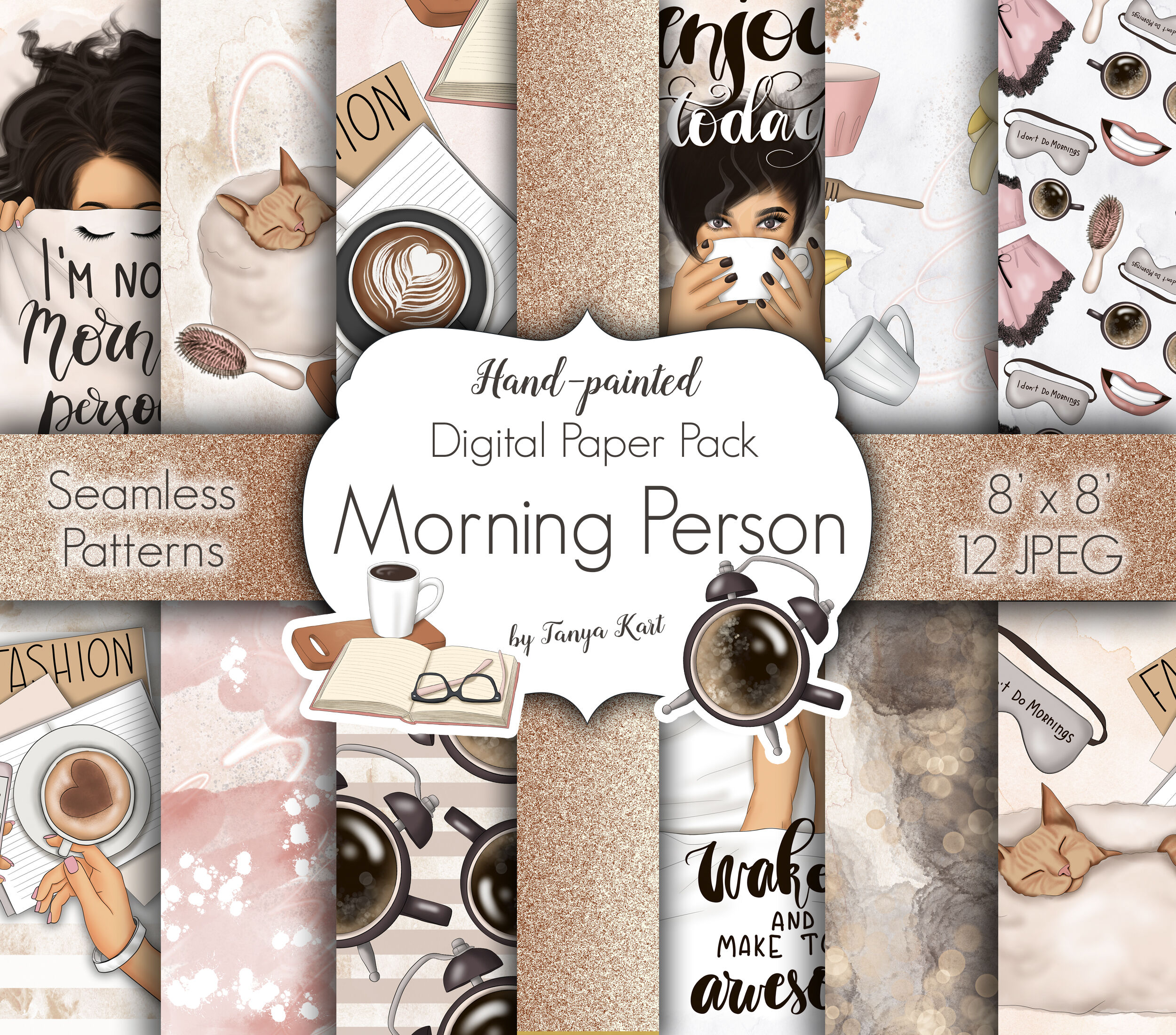 Morning Person Clipart Patterns By Tanya Kart Thehungryjpeg Com