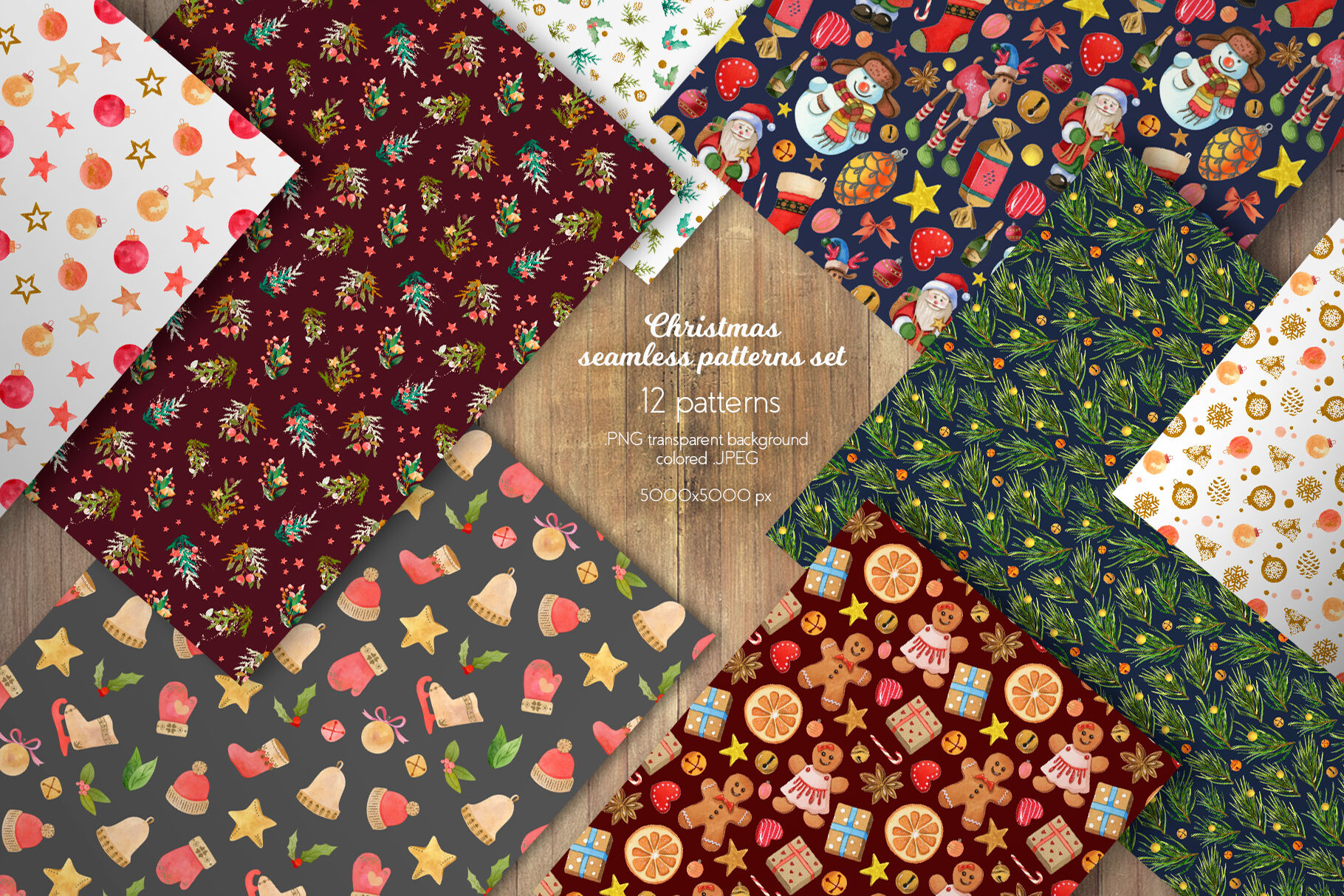 Christmas Seamless Patterns Collection By Julia M Watercolor
