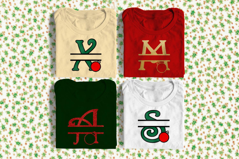 Christmas Ornament Split Letter Alphabet Svg Png Dxf By