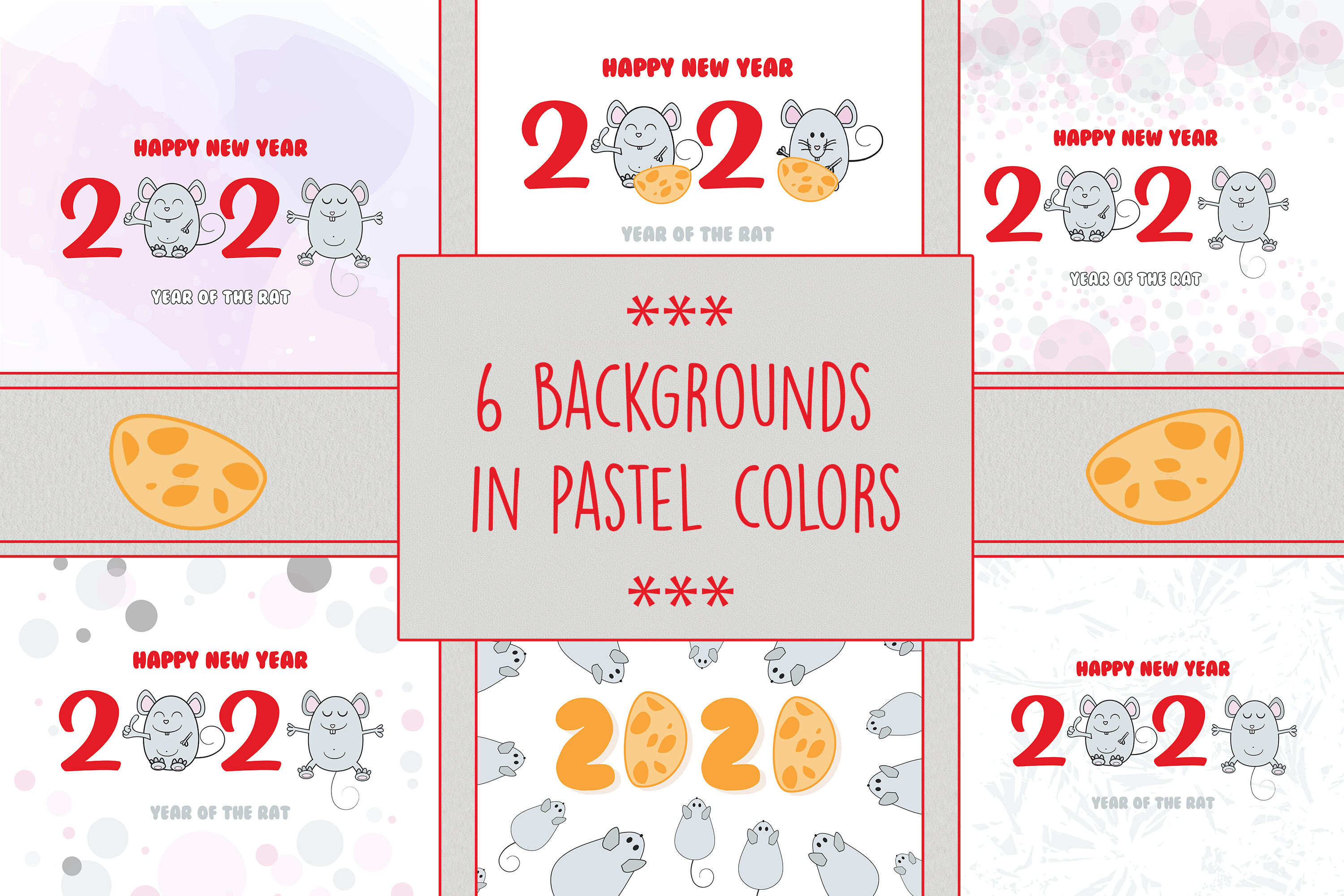 Backgrounds With Cute Mouse Symbol Of 2020 By Natika Art