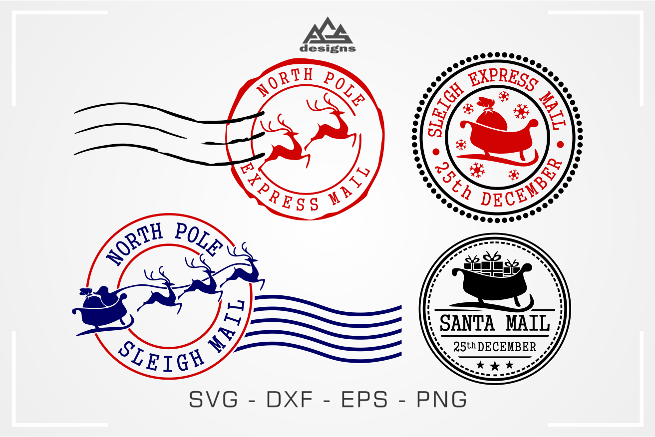 North Pole Mail Express Stamp Svg Design By Agsdesign