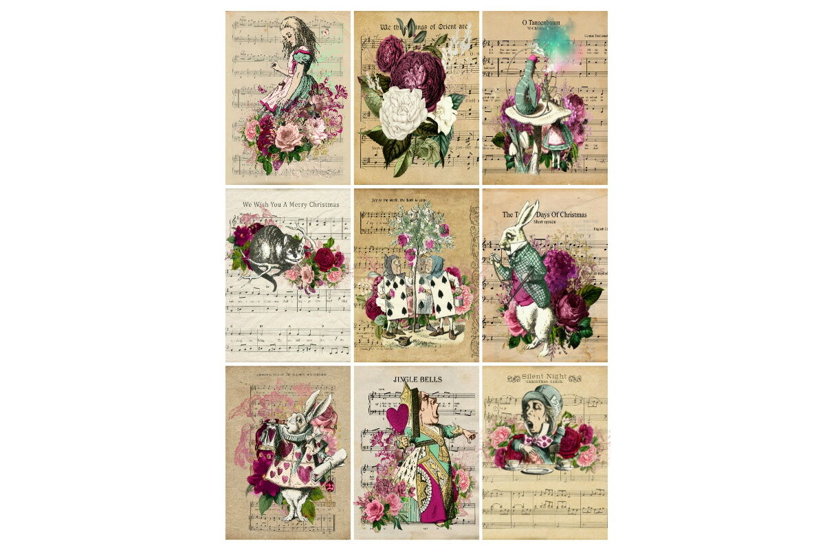 Alice In Wonderland 9 Images Collage Christmas Music By Scrapbook