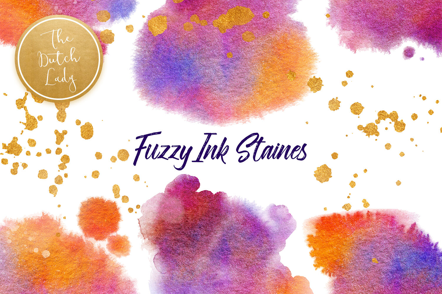 Fuzzy Ink Stain Clipart Set By The Dutch Lady Designs