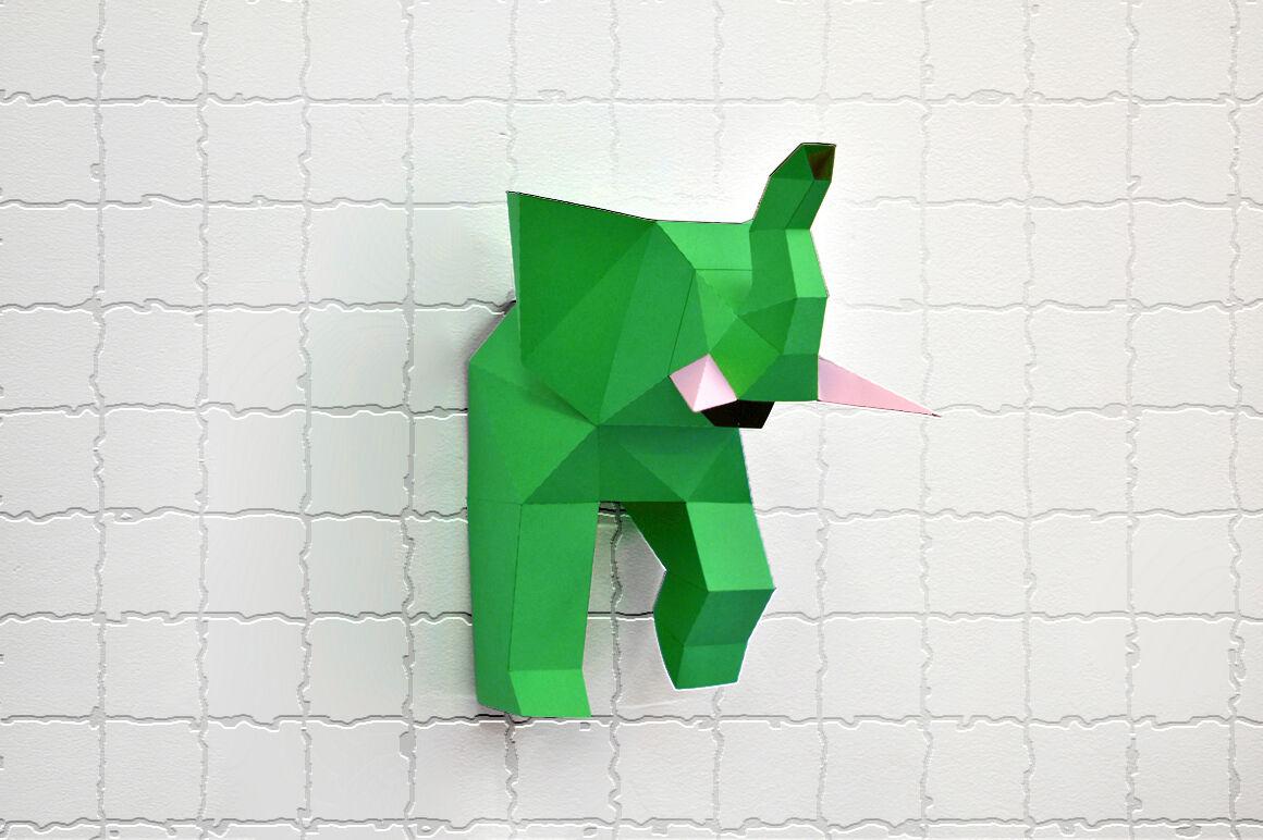 Diy Elephant Trophy 3d Papercraft By Paper Amaze Thehungryjpeg Com