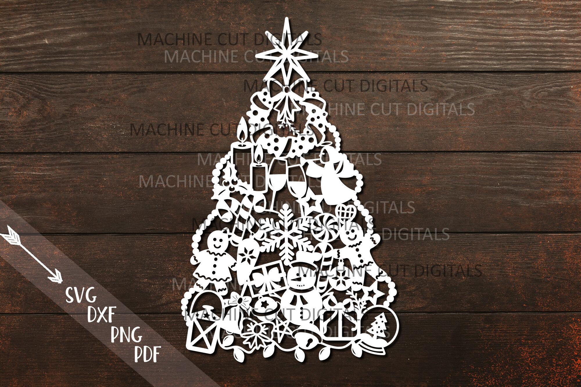 Assorted Christmas Tree Decoration Svg Laser Cut Papercut Template By Kartcreation Thehungryjpeg Com