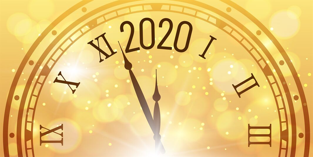Christmas 2020 Clock Countdown Shiny 2020 New Year poster. Christmas celebration clocks countdown