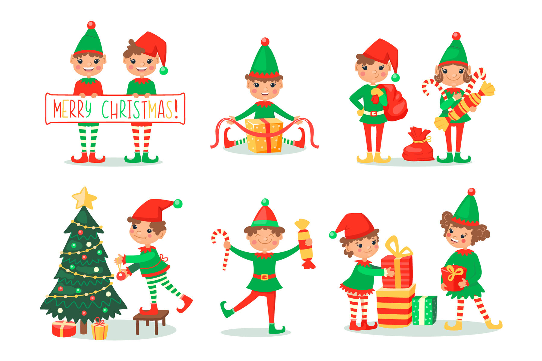 Christmas Cartoon Set With Elves And Santa Clause By Nesterova S