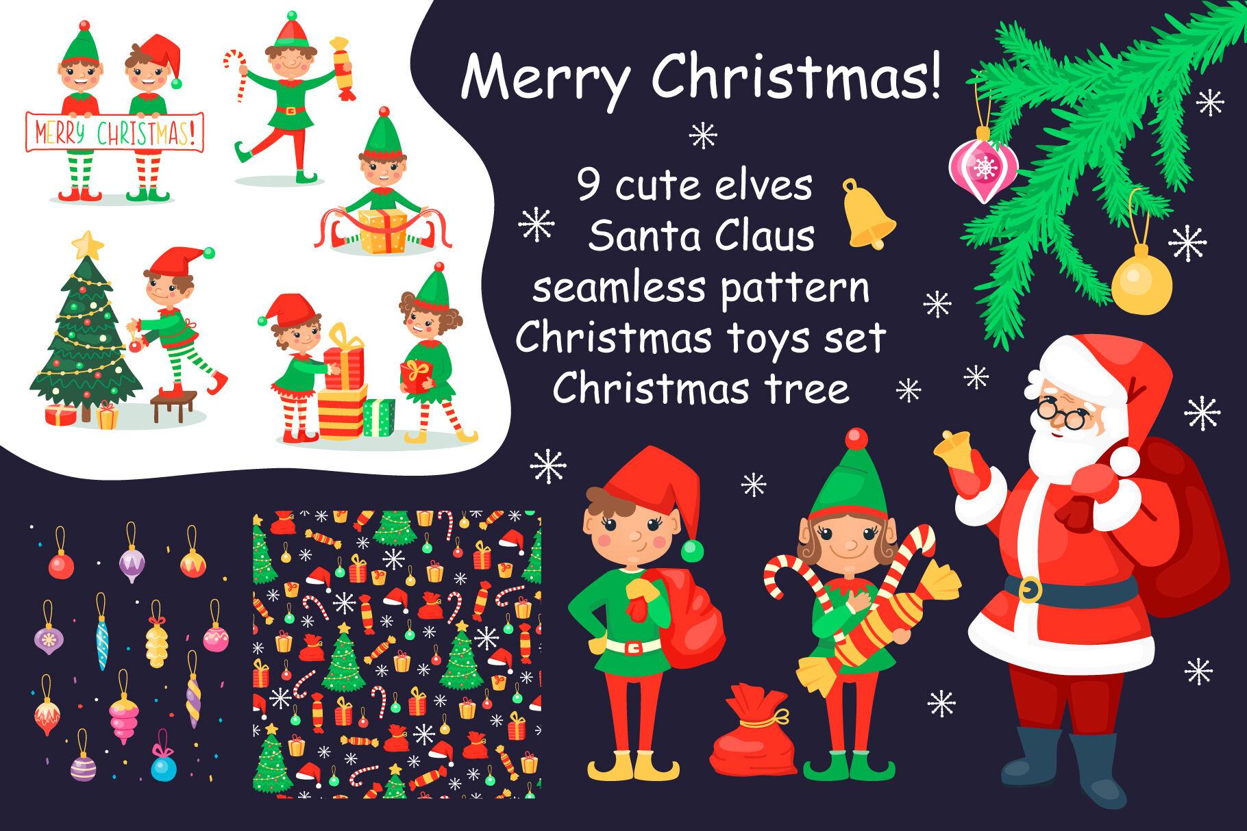 Christmas Cartoon Set With Elves And Santa Clause By Nesterova S