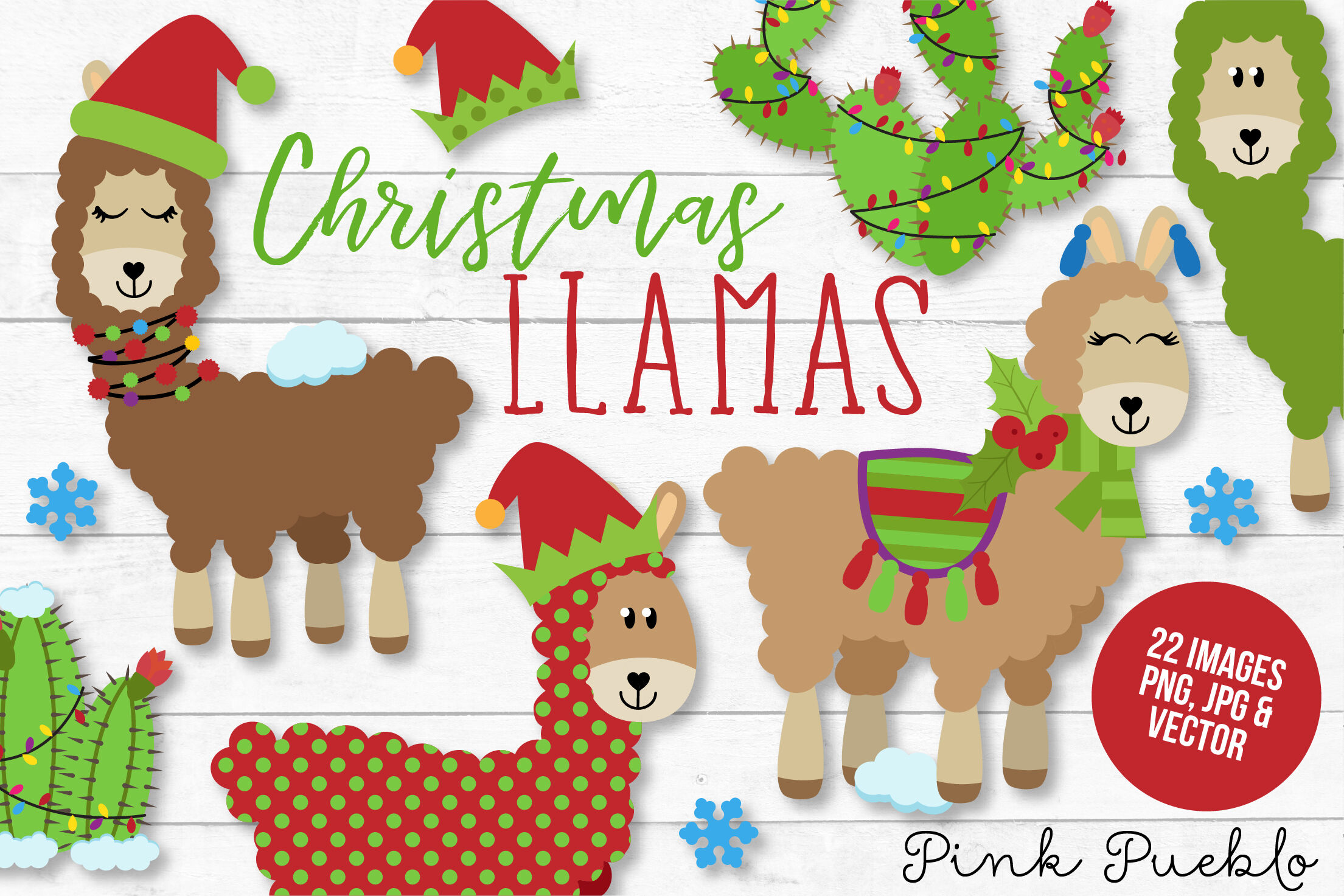 Christmas Llama Clipart And Vectors By Devon Carlson