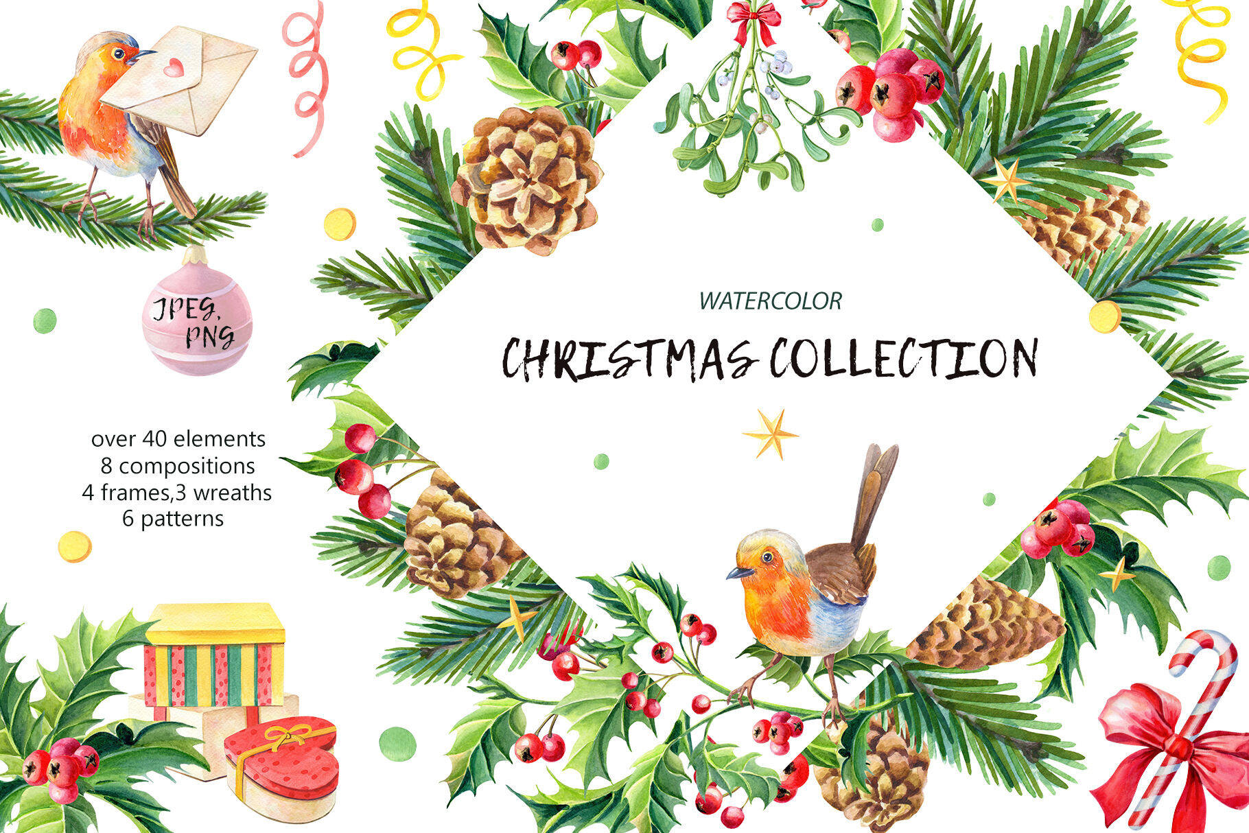 Christmas Collection Watercolor By Liubov Varfolomeeva