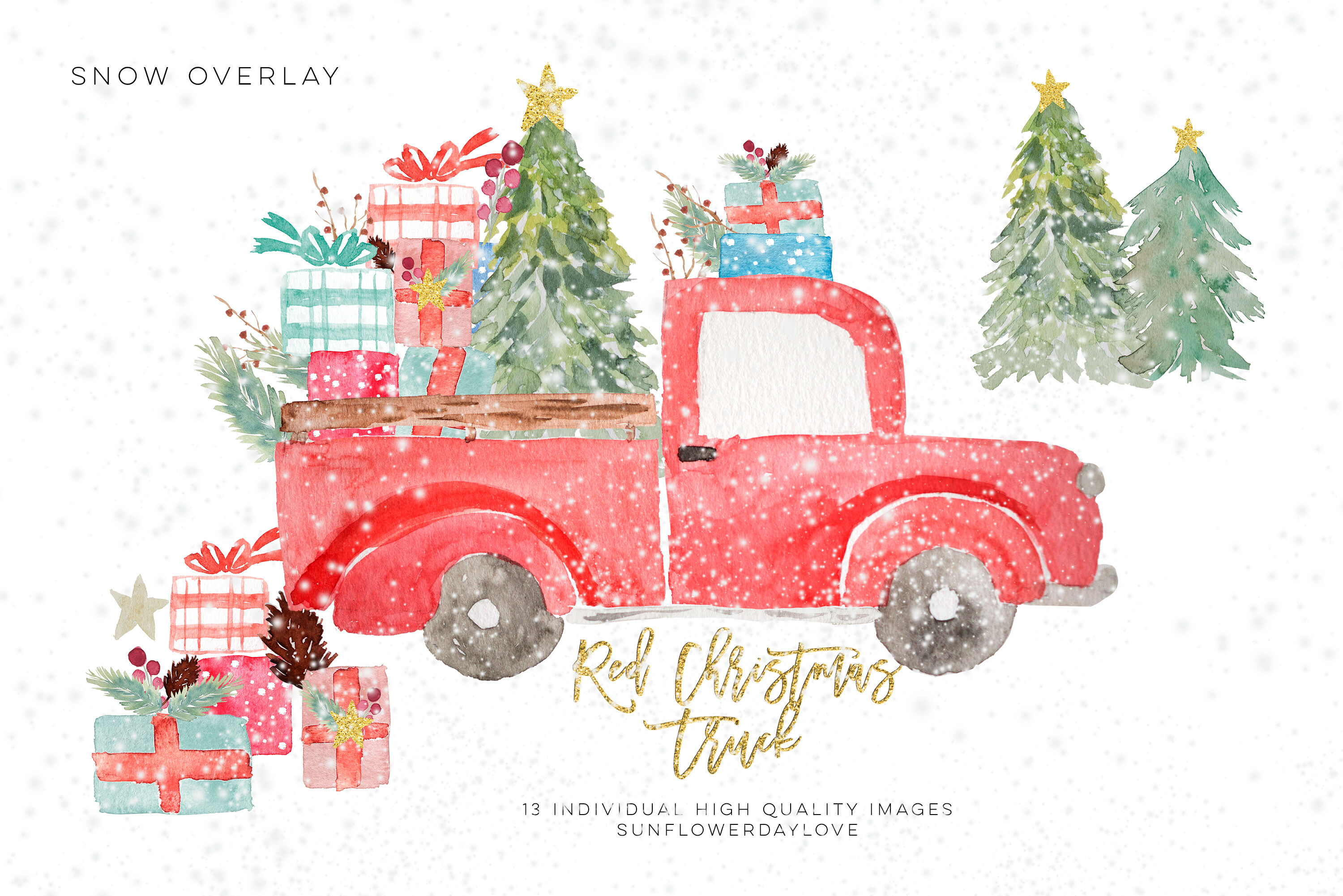 Christmas Truck Invitation Clipart Pine Tree Clipart By Sunflower