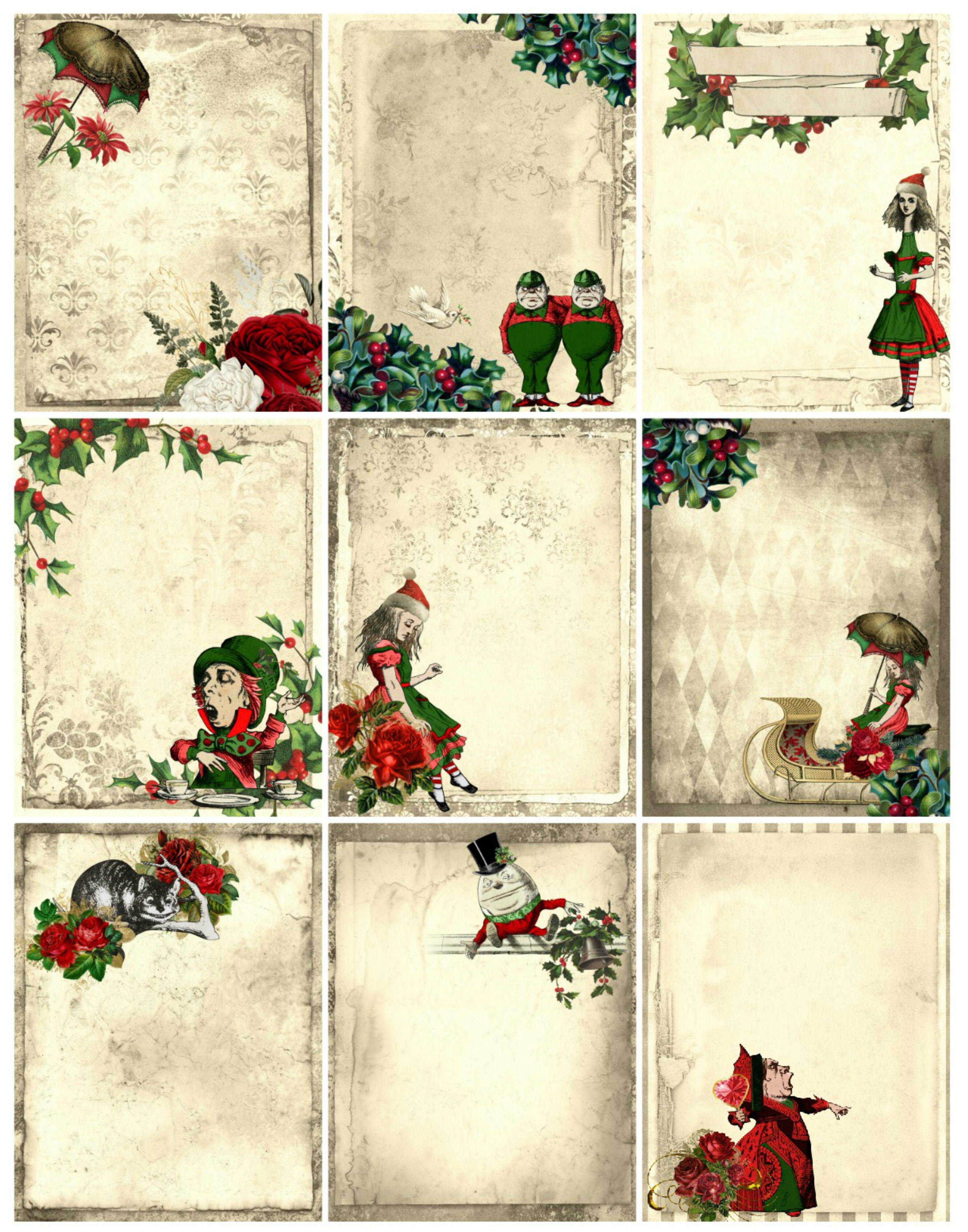 Alice In Wonderland Christmas Collage Sheet Pdf By Scrapbook Attic