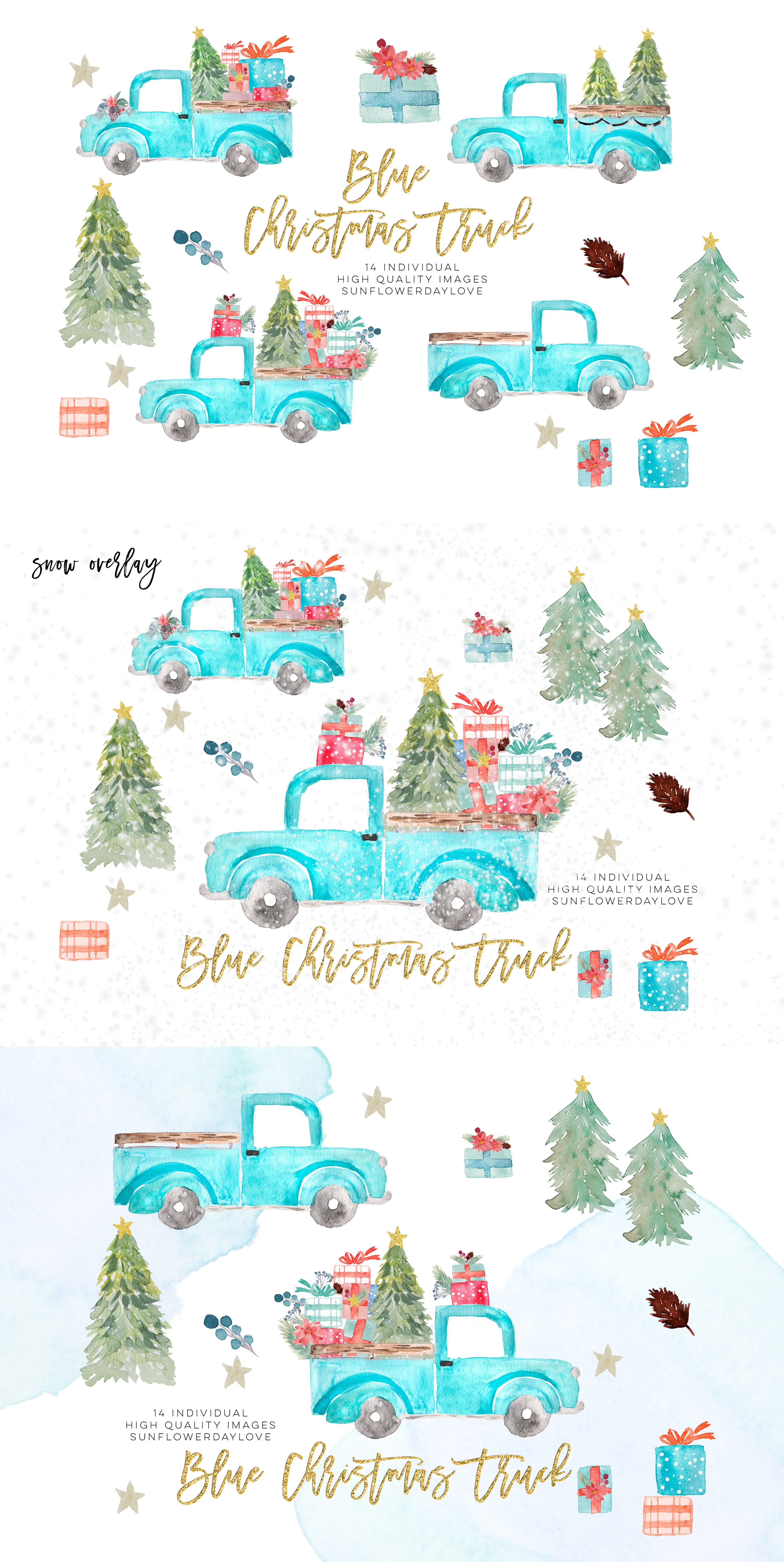 Watercolor Christmas Truck Clip Art Truck With Christmas Tree By