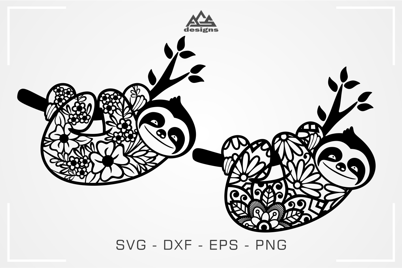 Sloth Floral Mandala Pattern Svg Design By Agsdesign