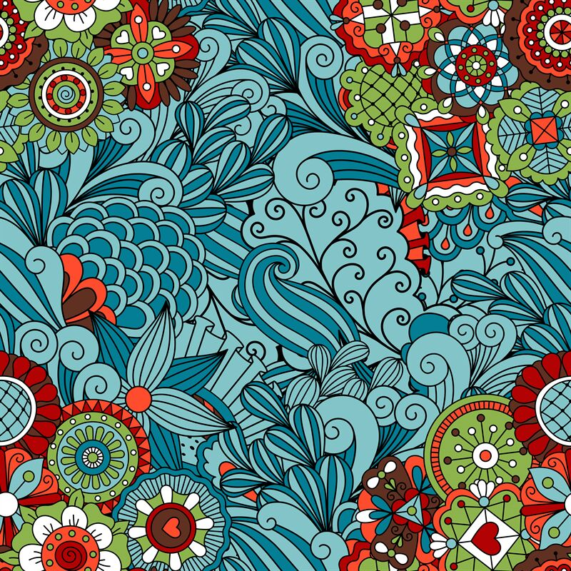 Blue Ornamental Floral Pattern Design By Smartstartstocker