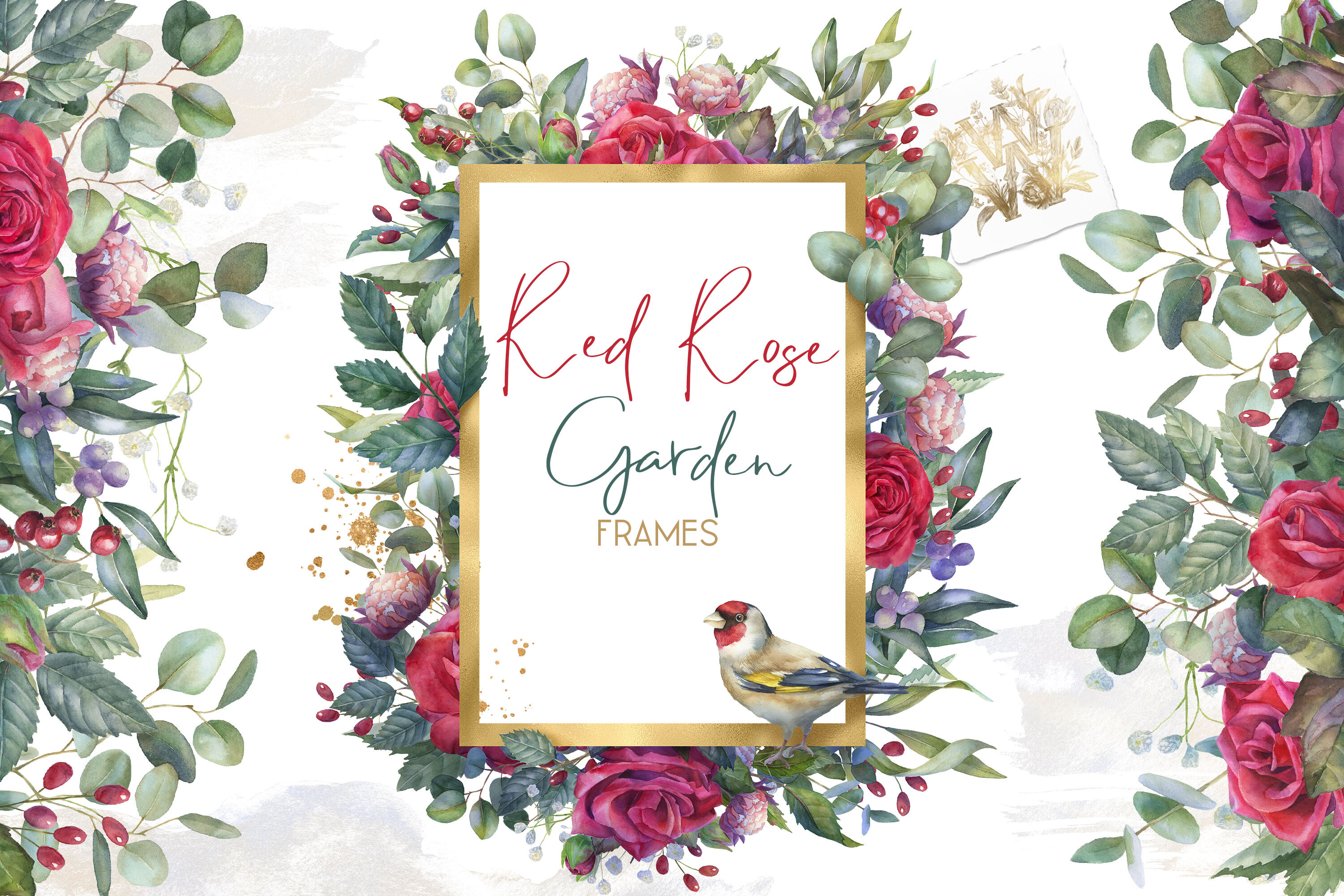 Red Watercolor Floral Frames Clipart Marsala Rose Wedding Floral