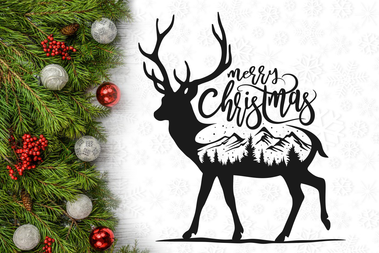 Merry Christmas Reindeer Wall Decal Svg Design By Agsdesign