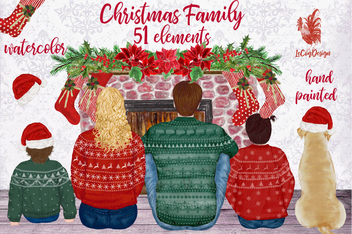 Christmas Family Clipart Fireplace Christmas Stockings By