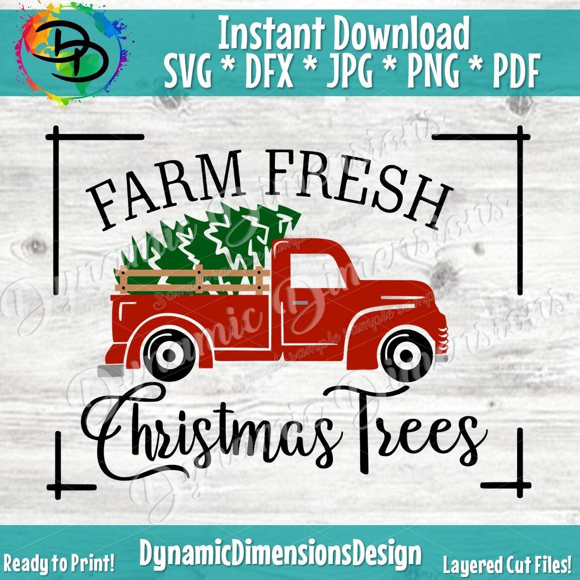 Christmas Red Old Vintage Truck Farm Fresh Svg Farmhouse Svg