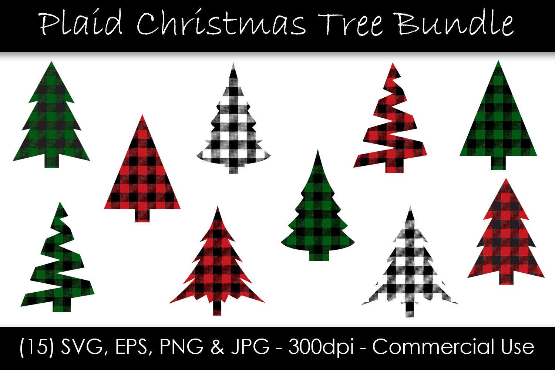 Christmas Tree Buffalo Check Plaid Bundle By Gjsart