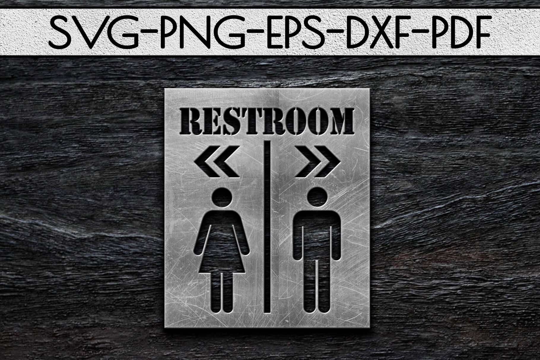 Restroom Sign Papercut Template Toilet Decor Svg Pdf Dxf By
