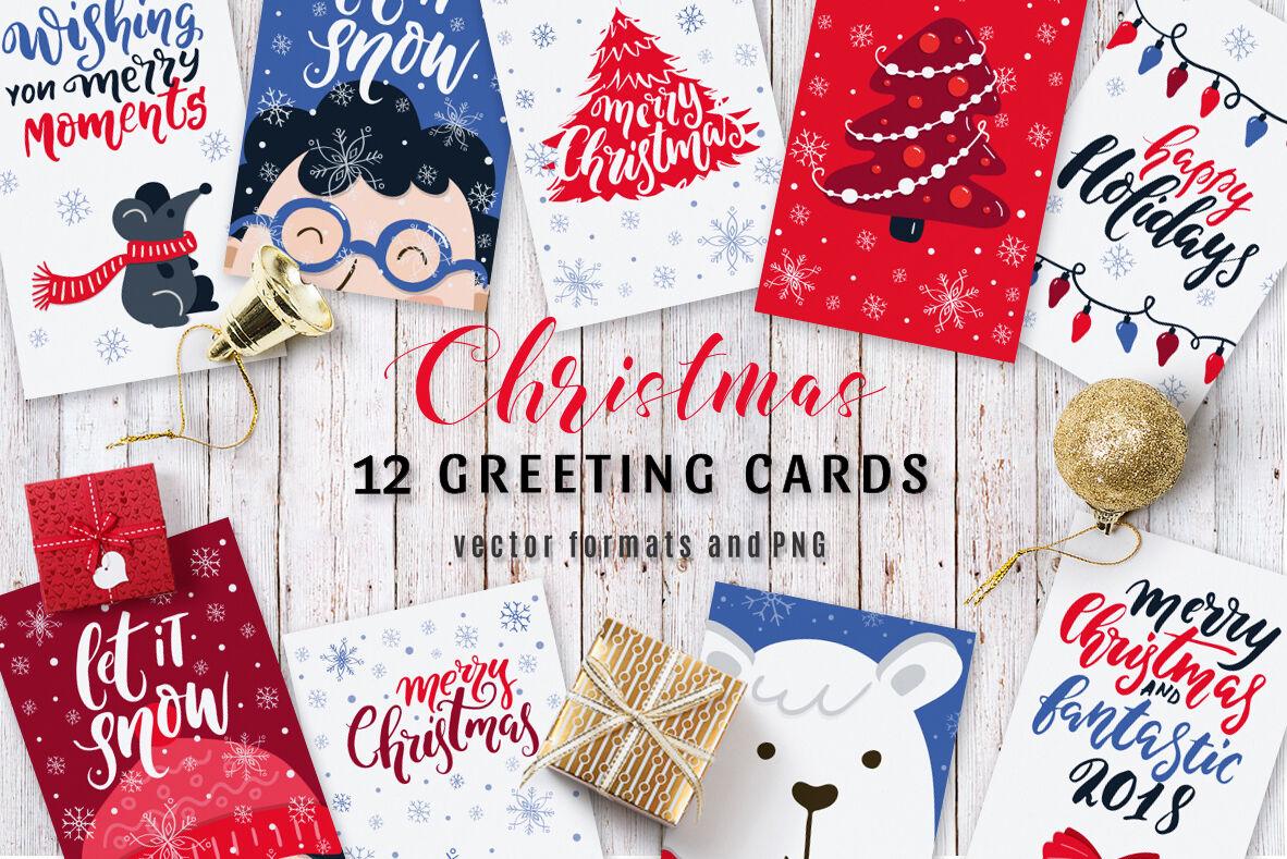 12 Christmas Greeting Cards By Darismartart Thehungryjpeg Com