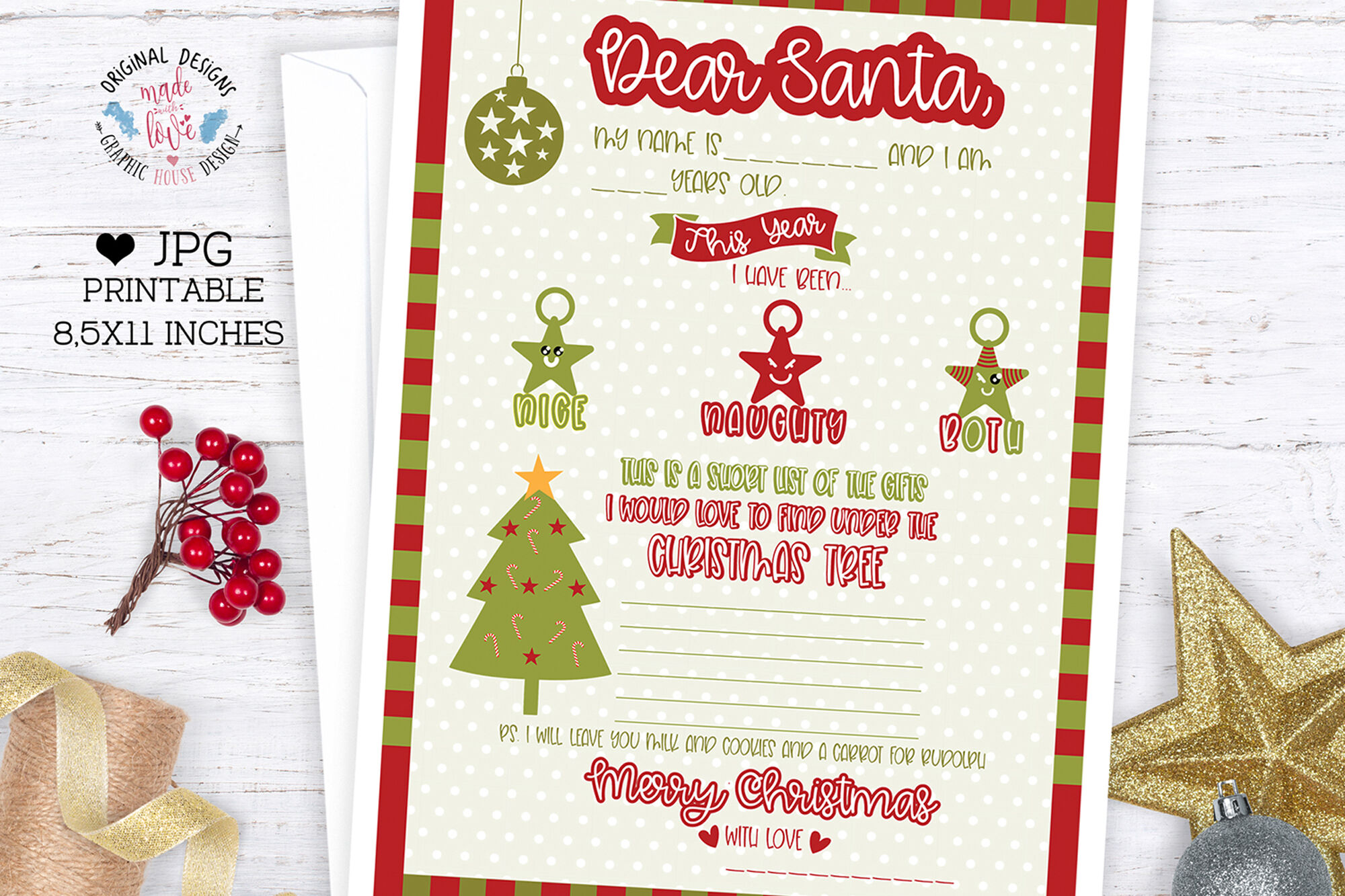 Letter To Santa Christmas Wish List Printable By