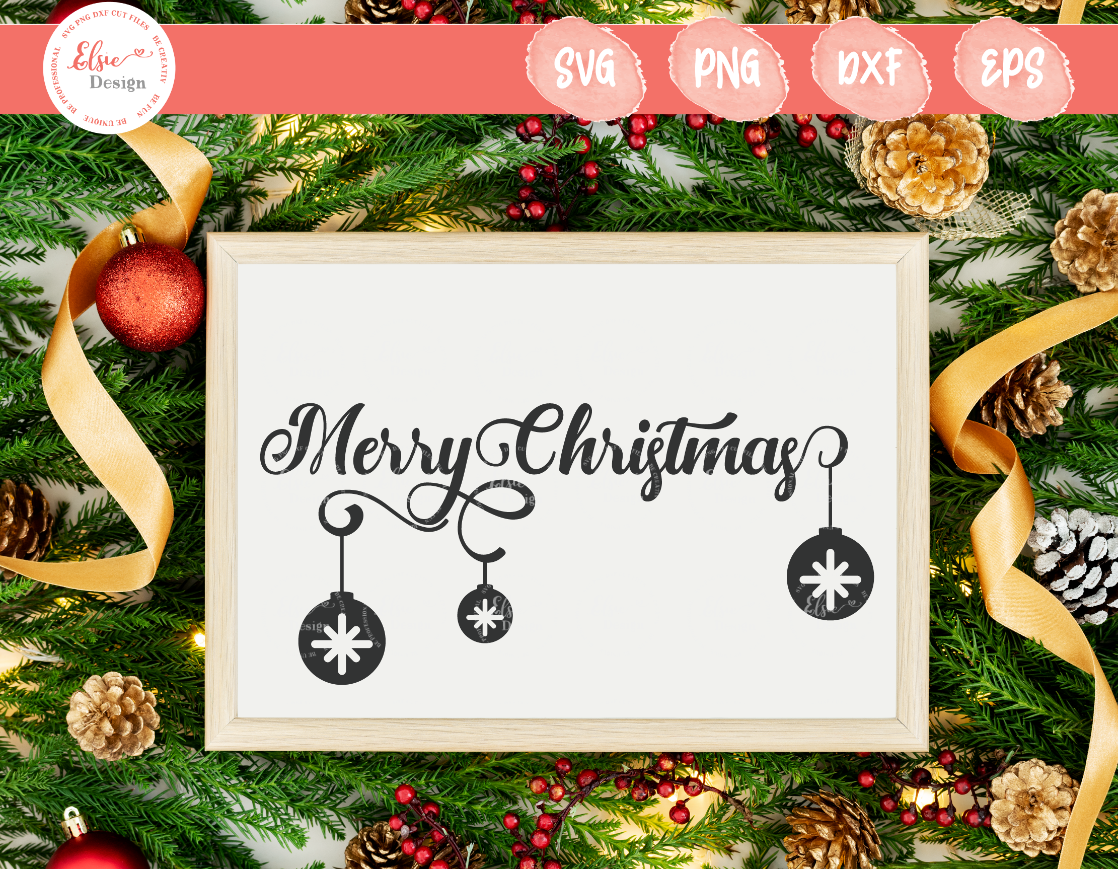 Merry Christmas With Christmas Ornaments Svg By Elsielovesdesign