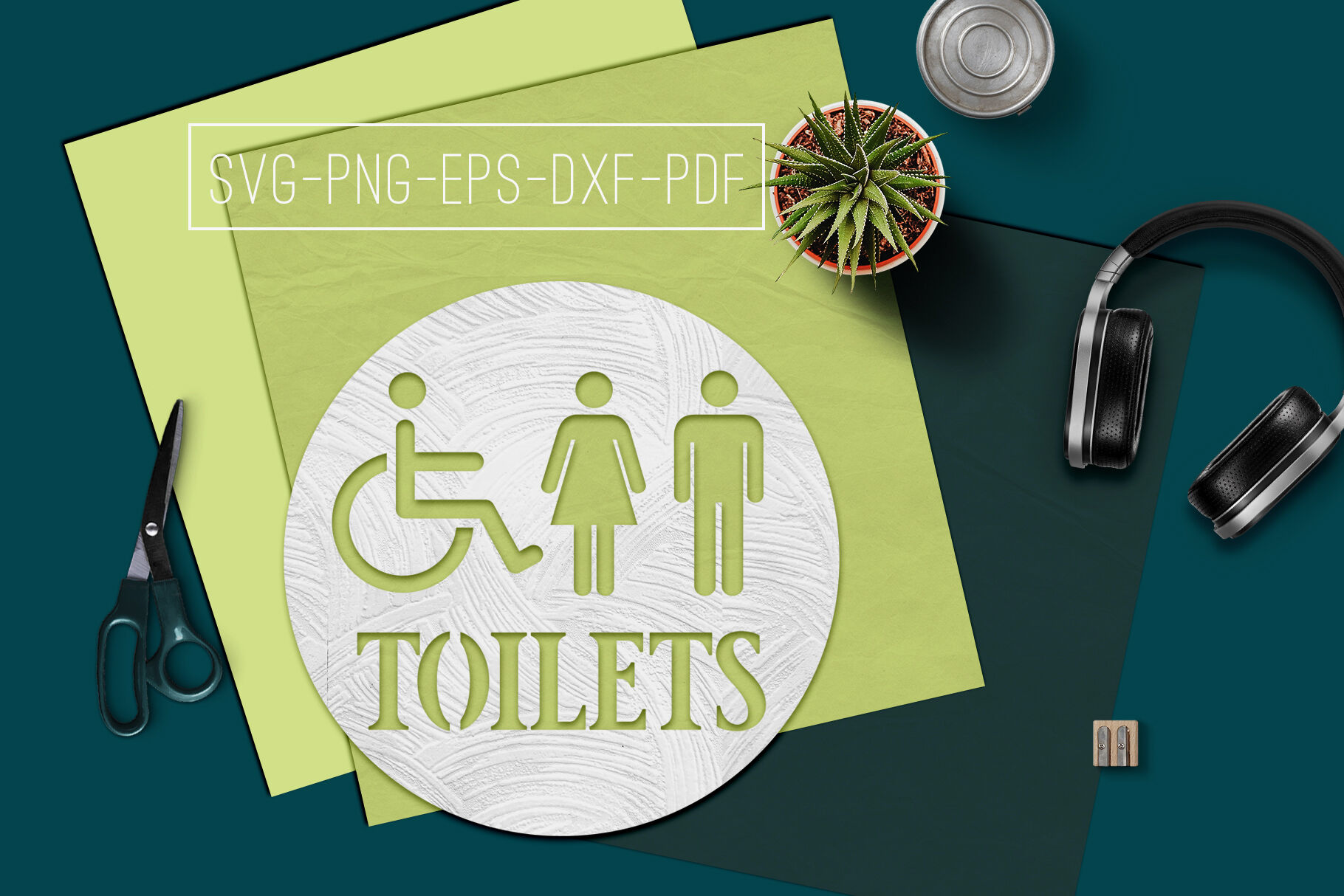 Toilets Sign Papercut Template Toilet Decor Svg Pdf Dxf By