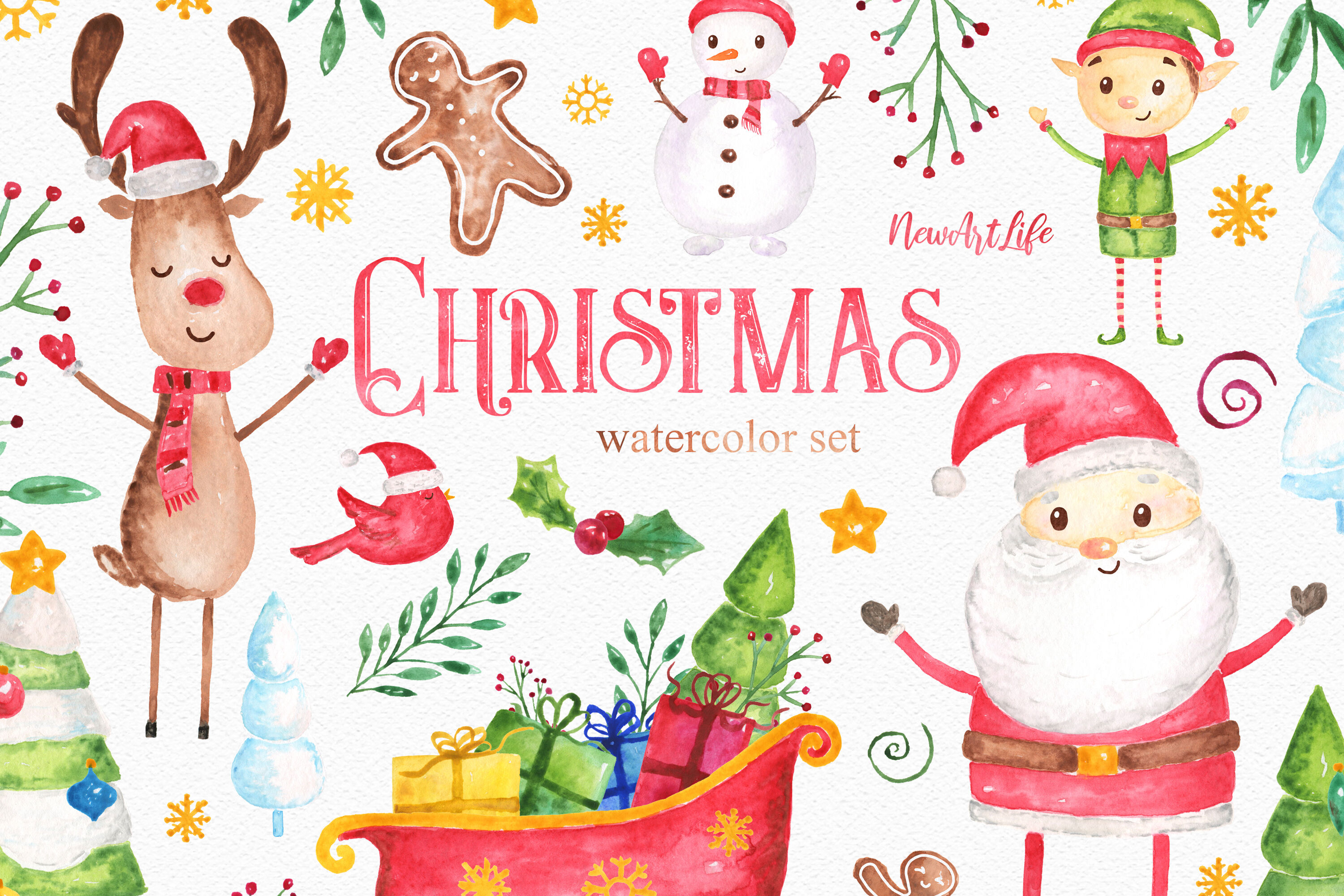 Christmas Watercolor Clipart Set By Newartlife Thehungryjpeg Com