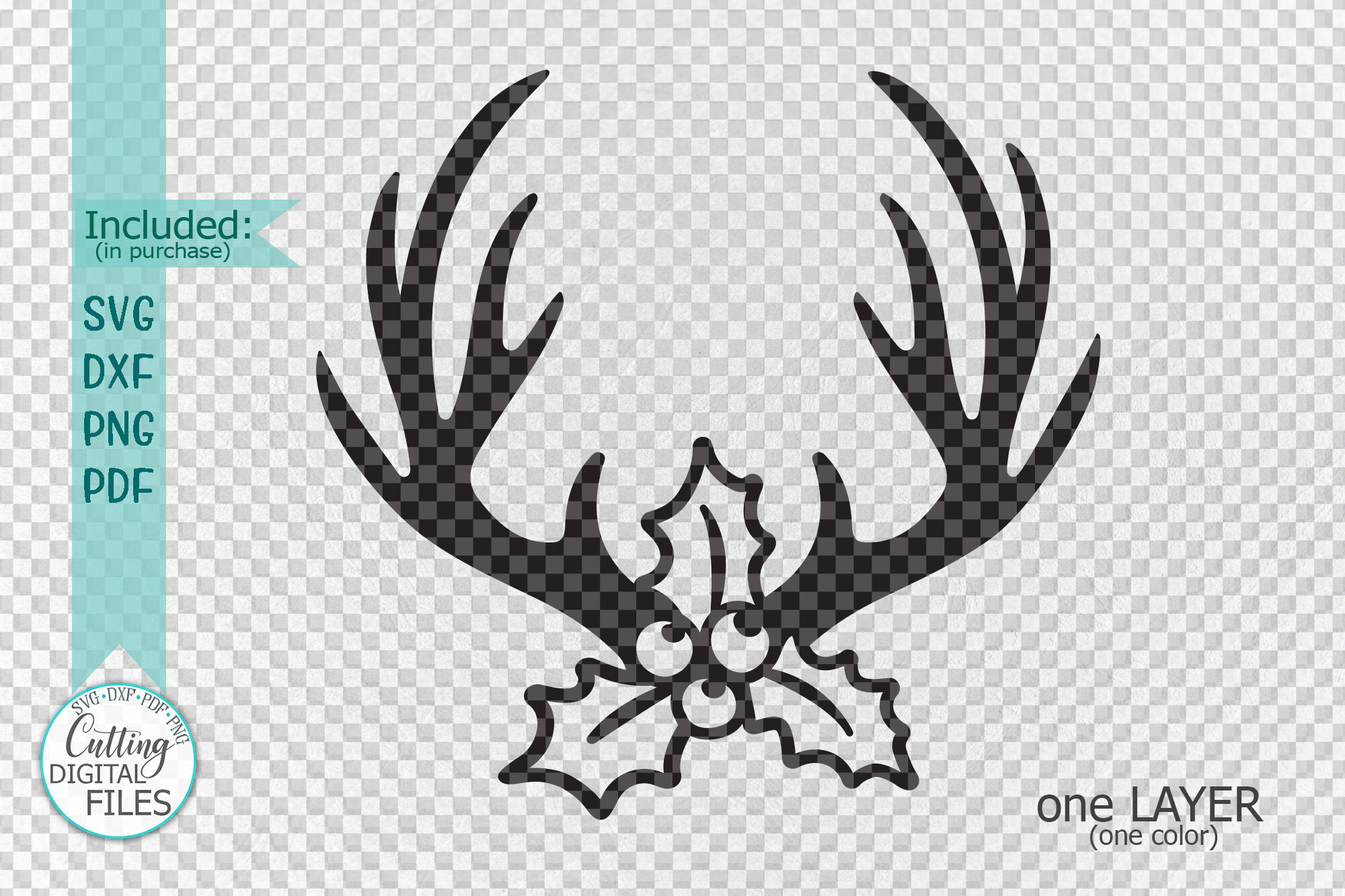 Christmas Reindeer Deer Antlers With Holly Berries Svg Cut By