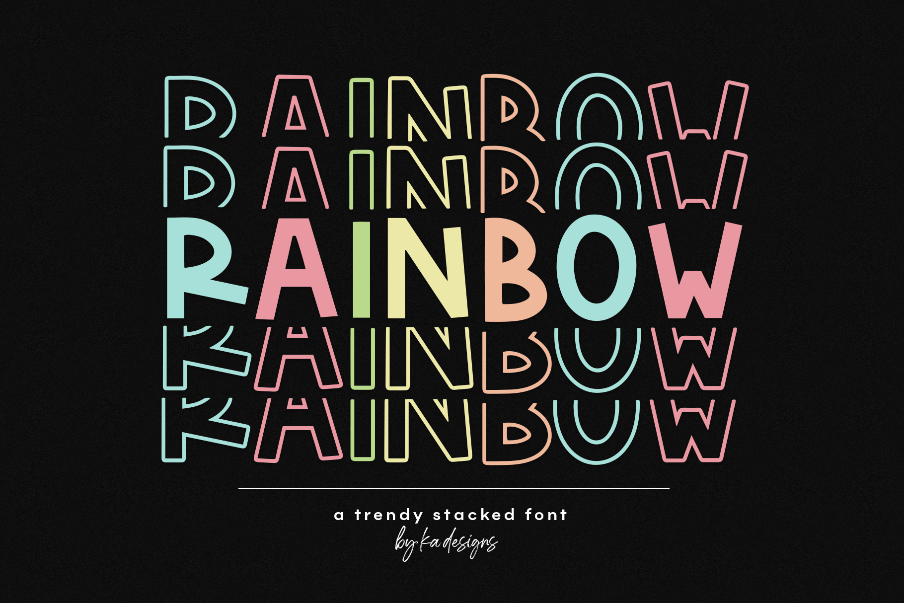 Rainbow Fun Stacked Font By Ka Designs Thehungryjpeg Com