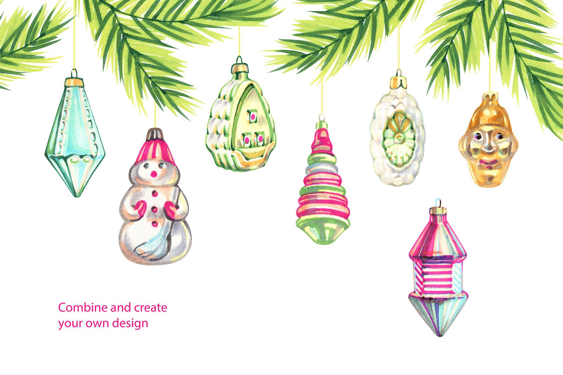 Vintage Christmas Toys Cliparts By Aquarelloaquarelle
