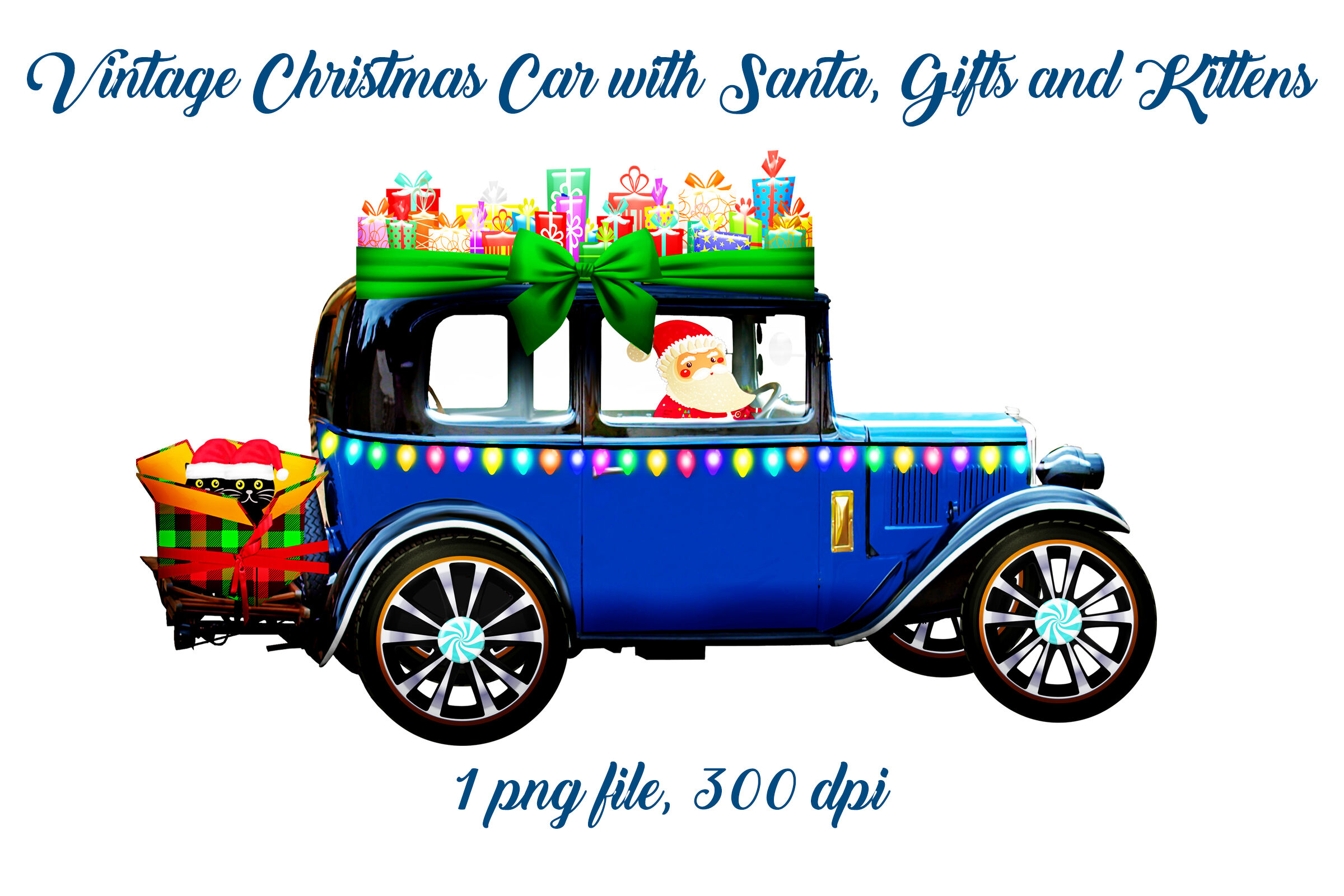 Vintage Christmas Car With Santa Gifts And Kittens By Me And