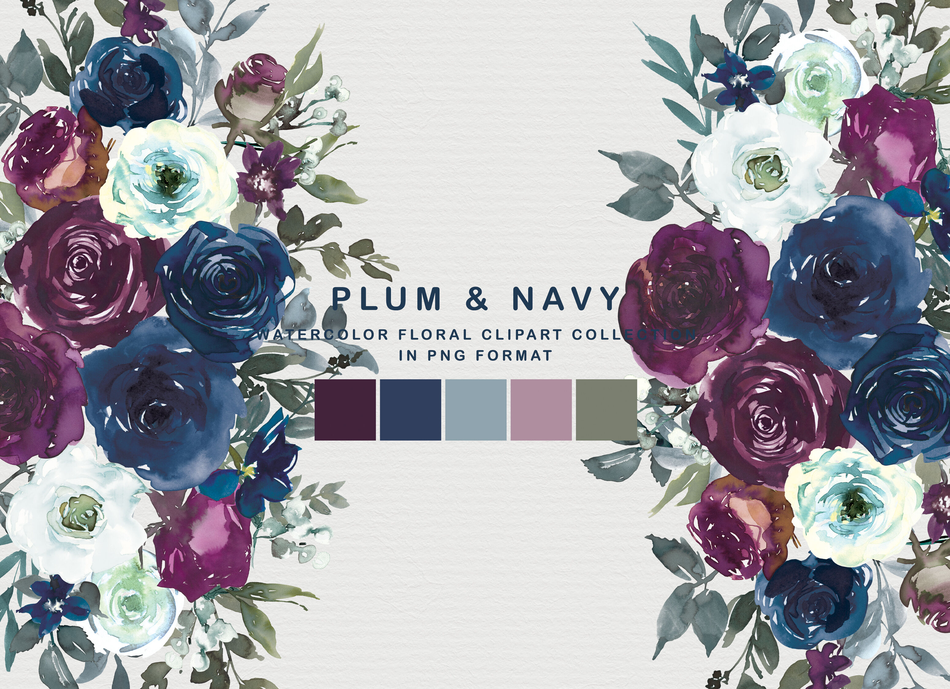 Plum Navy Floral Clipart Png By Patishop Art Thehungryjpeg Com